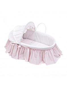 Capazo bebé de palma con capucha star rosa de Cambrass