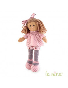 Muñeca de trapo Marta flor topito rosa La nina de 38 cm
