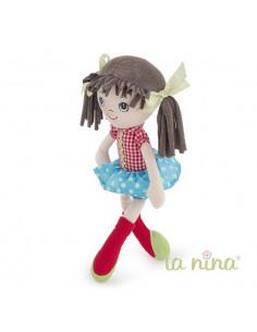 Muñeca de trapo Olivia topo azulón La nina de 35 cm