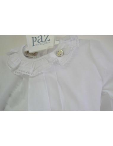 Blusa de tela con puntilla Nacar Paz Rodriguez