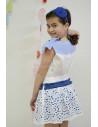 Conjunto de niña vichy añil con camisa y falda Foque