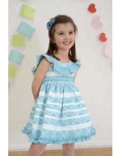 Vestido de niña en flores turquesa y rallas con corte en el pecho Foque