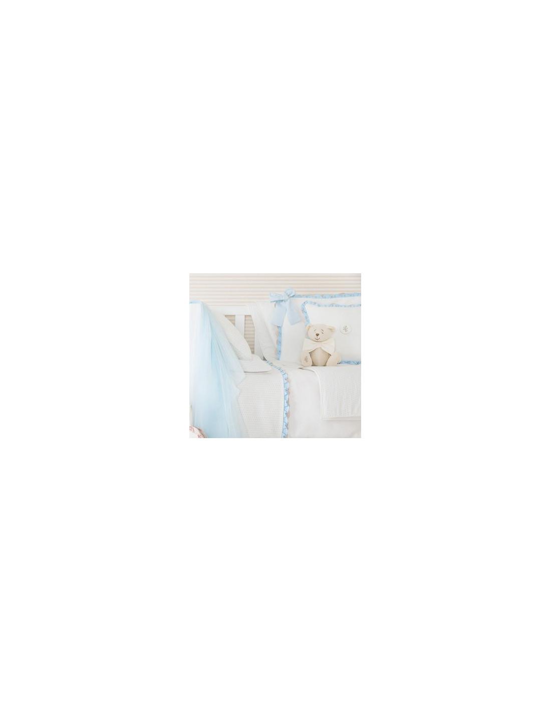Protector de cuna cama 70x140 ondas musicales de pili carrera for Cama 70x140