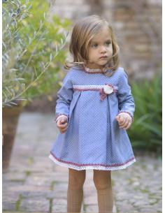 Vestido de bebe para niña Lunar Blanco de La Ormiga Invierno