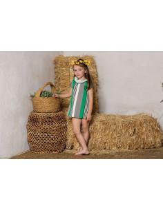 Jesusito para niña Rayas Verdes y negras Pilar Batanero