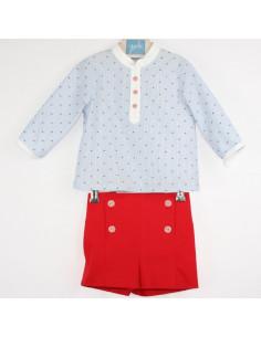 Conjunto pantalón corto para bebe niño Adara de Yoedu