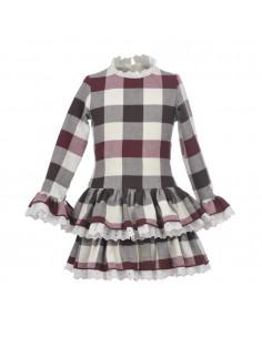 Vestido para niña Cuadros Burdeos de La Ormiga Invierno