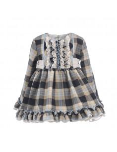 Vestido de bebé para niña Cuadros Negros-Celestes de La Ormiga Invierno