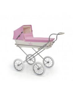 Cochecito pequeño para muñecas MiniParis rosa de Bebelux