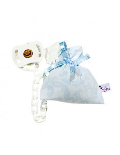 Chupete y pinza con bolsa cachemir celeste / blanco de Muñecas Así
