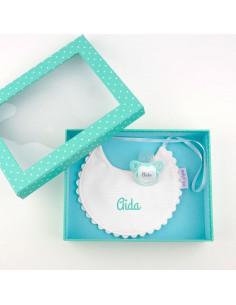 Cajita Baby babero menta personalizada de Mi Pipo