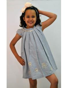 Vestido para niñas gris con detalle flor verano de Girandola