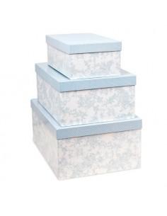 Set de 3 cajas forradas color azul nube