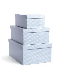 Set de 3 cajas forradas cuadro Vichy de Pasito a Pasito