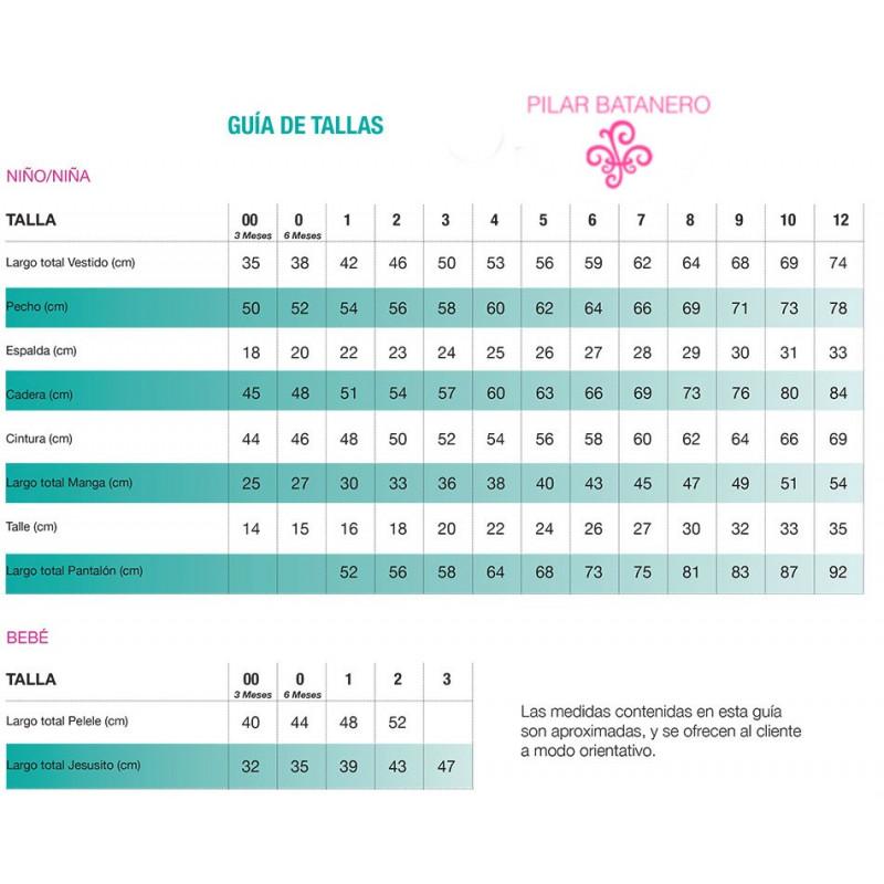 Guía de tallas de Pilar Batanero