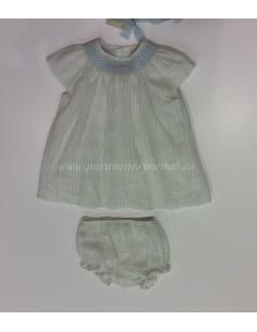 Vestido niña con braga y capota punto inglés verano 2015 de Pili Carrera