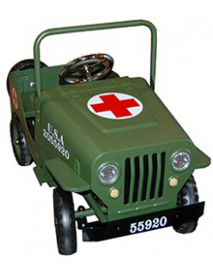 Coche a pedales Jeep Cruz Roja color verde