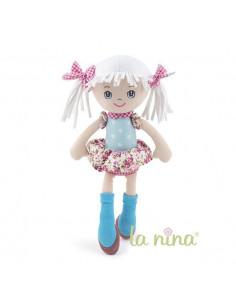 Muñeca de trapo Olivia flor rosa La nina de 35 cm