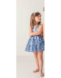 Vestido de niña de corte en el pecho Azul Loan Bor Primavera