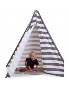Tienda para niños Tipi rayas grises de Child Home