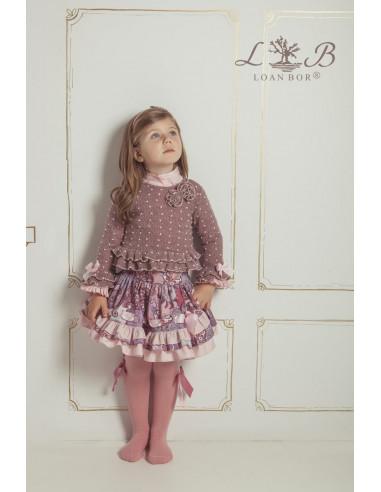 be98e24b8 Conjunto falda para niña Berenjena de Loan Bor Invierno 2017