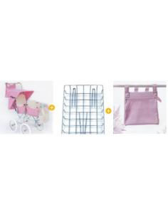 Pack 2: Silla gemelar rosa + parrilla + bolso
