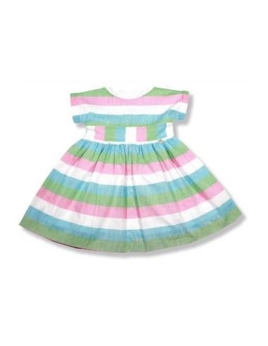 a5da99faf Vestido para niña Rayas Fresa de Foque