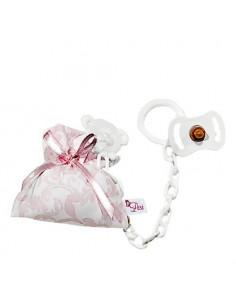 Chupete y pinza con bolsa cachemir rosa/ blanco de Muñecas Así