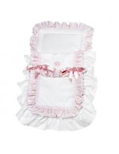 Saco coche pique blanco cachemir rosa/ blanco de Muñecas Así