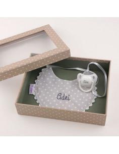 Cajita Baby babero gris personalizada de Mi Pipo