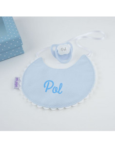 Cajita Baby babero azul personalizada de Mi Pipo