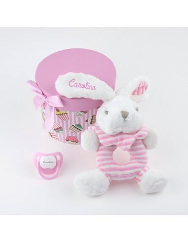 Cajita sonajero rosa personalizada de Mi Pipo
