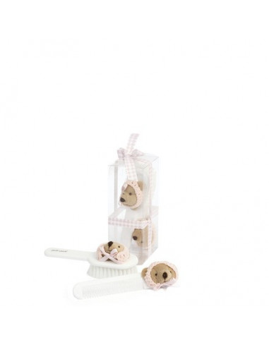 Set cepillo y peine bebé oso con gorrito rosa de Pasito a Pasito