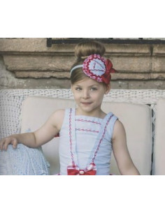 Diadema para niña Cuadros Rojos de Dolce Petit Verano