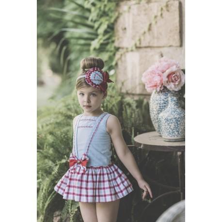 9d252fe6a7 Vestido para niña Cuadros Rojo de Dolce Petit Verano