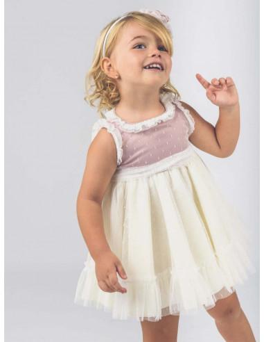 bf8bdac5e Vestido de bebé para niña Bicolor La Ormiga