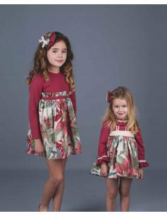 Vestido de bebé para niña Flores Grandes Burdeos La Ormiga Invierno