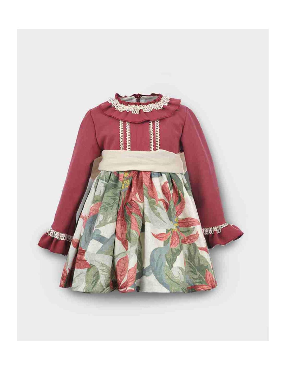8eb412474c2 Vestido para niña pwqueñoFlores Grandes Burdeos La Ormiga Invierno