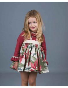 Vestido para niña pequeño Flores Grandes Burdeos La Ormiga Invierno