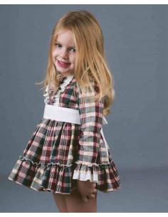 Vestido de bebé para niña Cuadros Verdes/Burdeos de La Ormiga