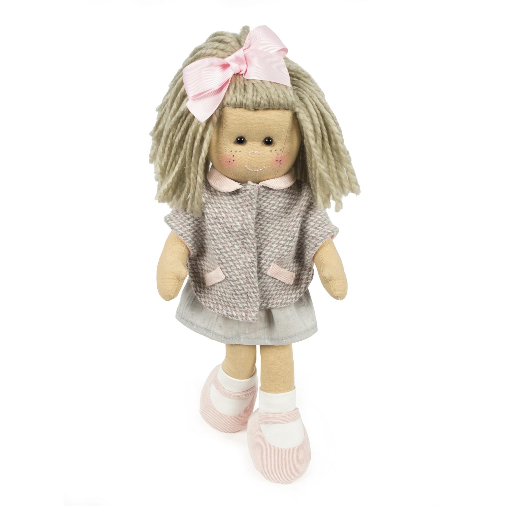 Muñeca de trapo Marta abrigo tweed de La nina