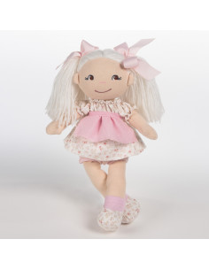Muñeca de trapo Cristina con vestido de flores rosa La nina de 35 cm