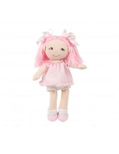 Muñeca de trapo Cristina con vestido topos rosa La nina de 35 cm