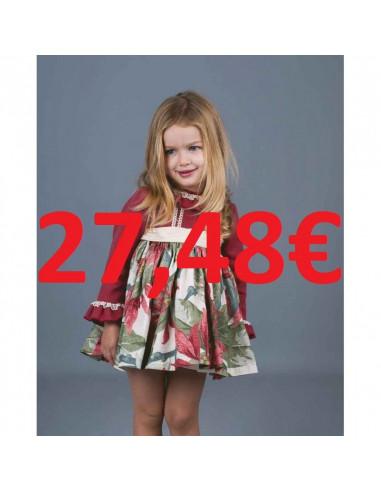 2e09a6842 Vestido para niña pwqueñoFlores Grandes Burdeos La Ormiga Invierno