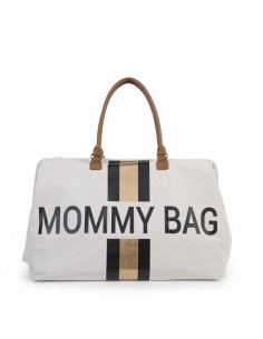 Bolso blanco Child Home Mommy Bag Líneas Negras y Doradas