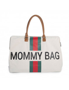 Bolso blanco Child Home Mommy Bag Líneas Rojas y Verdes