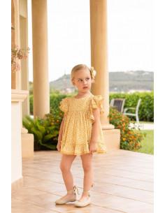 Vestido para niña con volantes Mostaza de Dolce Petit Verano