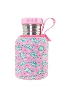 Botella térmica con funda Basic Steel rosa 350ml de Laken