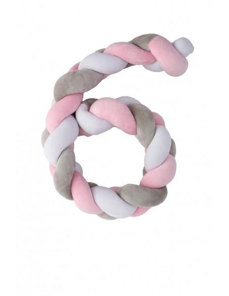 Trenza Protector para cuna Twist Rosa de 120 cm