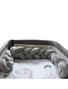 Trenza Protector para cuna Twist Gris de 120 cm